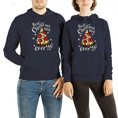 VivaMake® Set de 2 Sudaderas de Navidad para Parejas Hombre y Mujer con Diseño Árbol de Pizza: Amazon.es: Ropa y accesorios