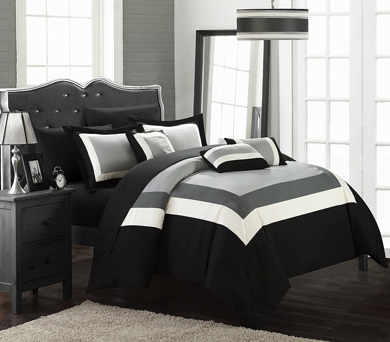 Amazoncom Chic Home Duke Comforter Set Queen Black Home Kitchen