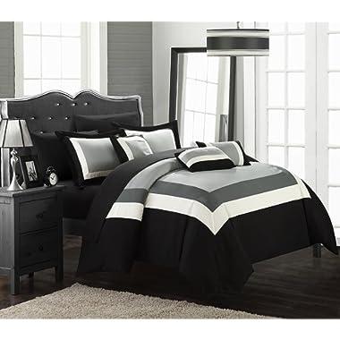 Chic Home CS1464-AN Duke Comforter Set, Queen, Black