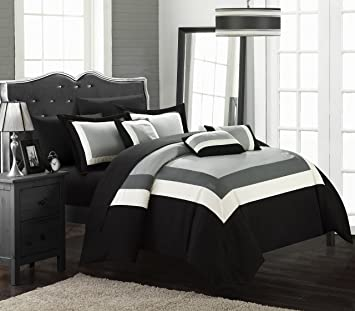 Chic Home Duke 10 Piece Comforter Set Complete Bed In A Bag Pieced Color  Block Patterned