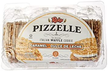 Reko Caramel (Dulce De Leche) Pizzelle Cookies, 7 oz, Pack of 6