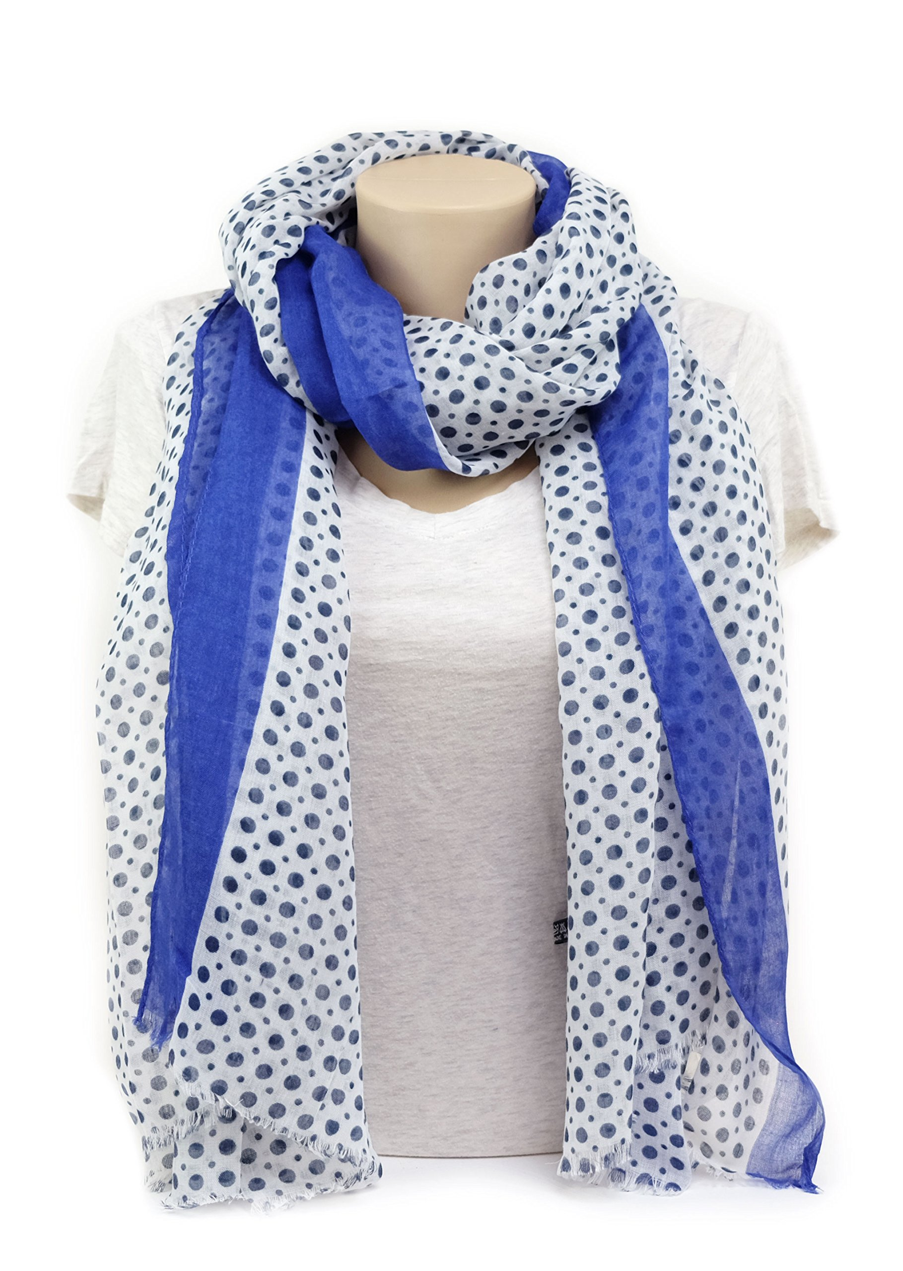 Scarves for Women by MIMOSITO Fashion Lightweight Elegant Geometric Patterned Wrap (Polka Dot-Blue) by MIMOSITO (Image #3)
