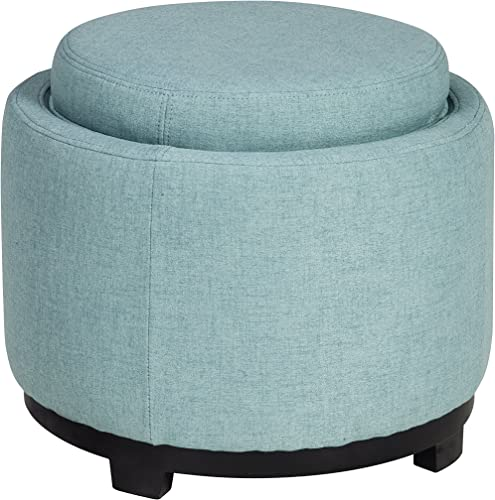Ashley Furniture Signature Design – Menga Ottoman with Storage – Contemporary Style – Mist