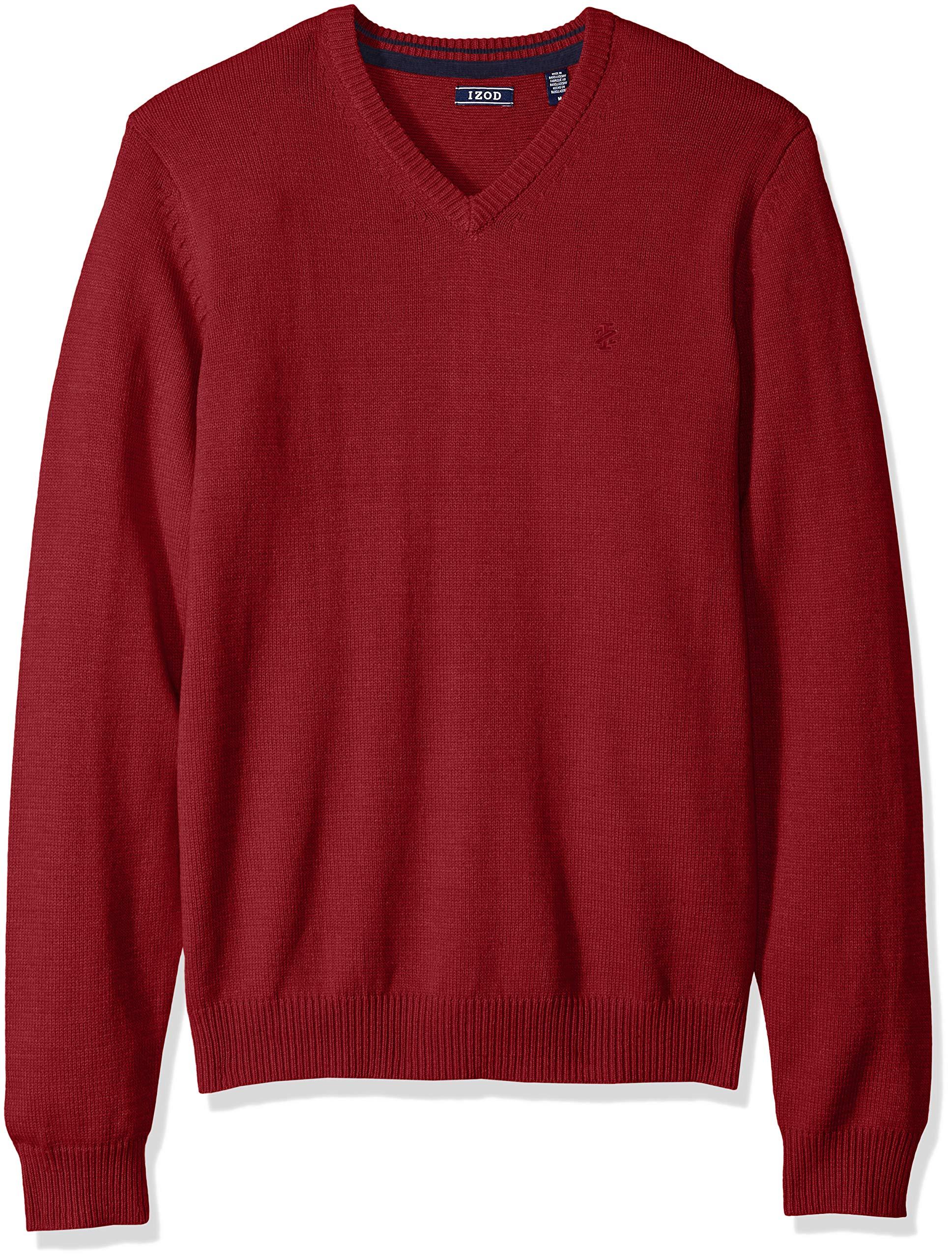 IZOD Men's Fine Gauge Solid V-Neck Sweater, New Biking red, Small