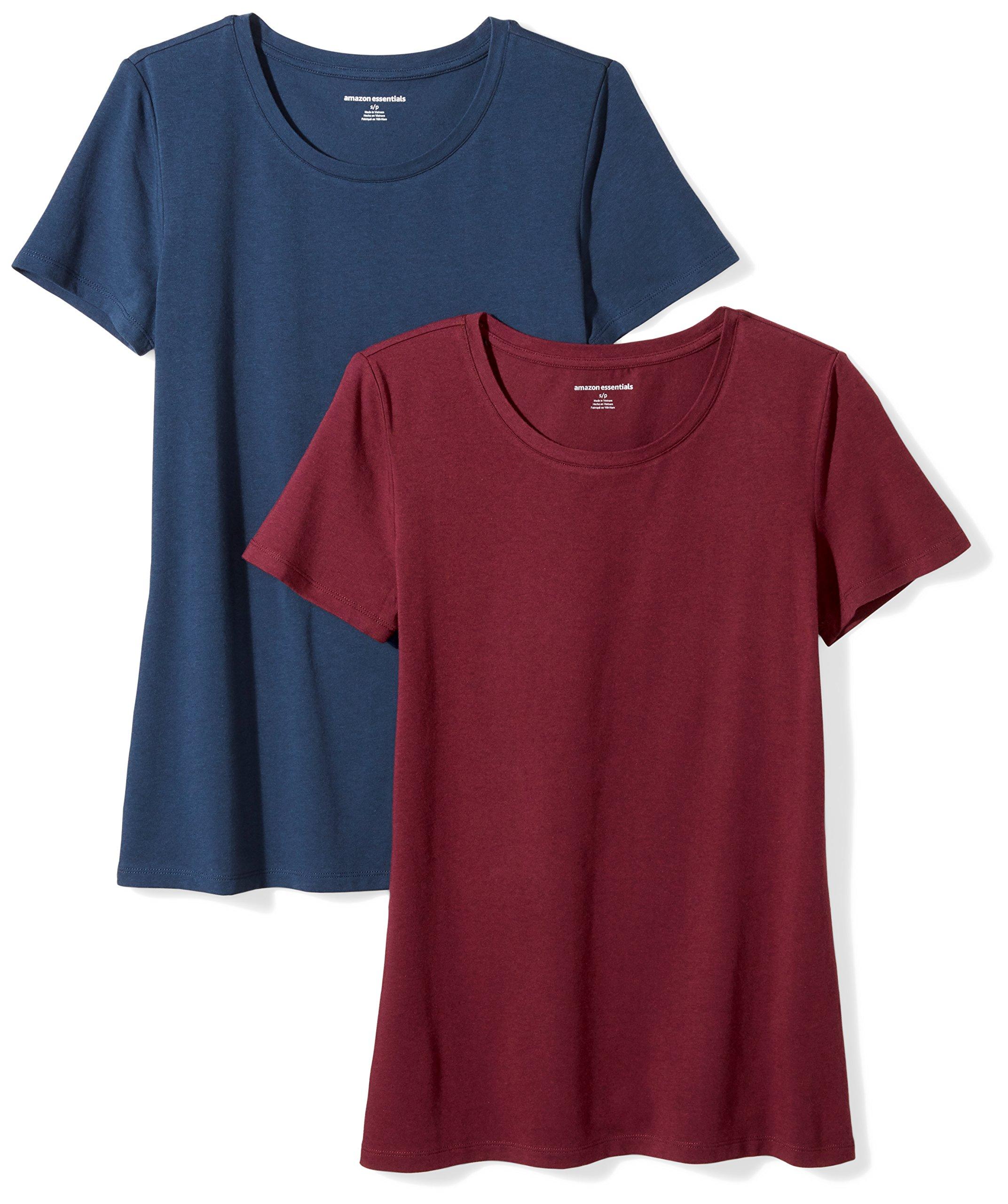 Amazon Essentials Women's 2-Pack Short-Sleeve Crewneck T-Shirt, Burgundy/Navy, X-Large