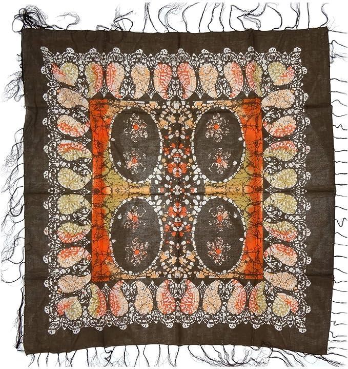 dimensione 90 x 90 cm foulard arancione rosso beige marrone lavorato frange