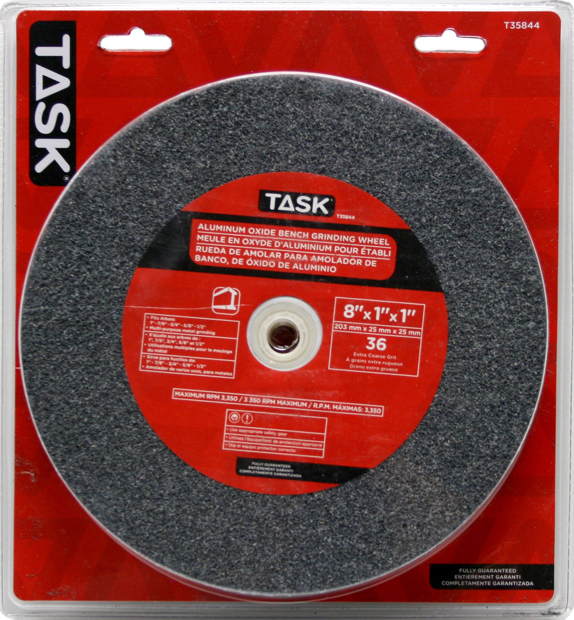 Task Tools T35844 8-Inch by 1-Inch Aluminum Oxide Bench Grinding Wheel, 36 Grit, 1-Inch Arbor