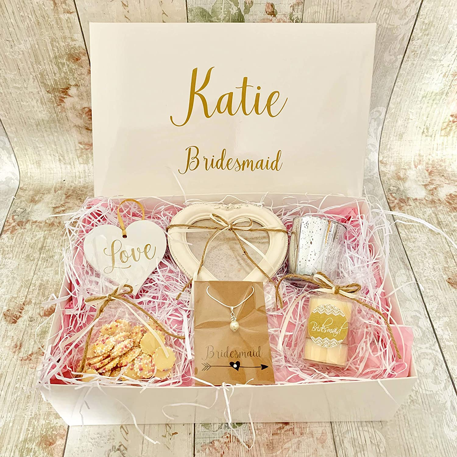 Countdown Celebrate Personalised Bridesmaid Or Maid Of Honour Gift Box Hamper Wedding Thank You Shabby Chic Amazon Co Uk Kitchen Home