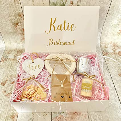 Countdown Celebrate Personalised Bridesmaid Or Maid Of Honour Gift Box Hamper Wedding Thank You Shabby Chic