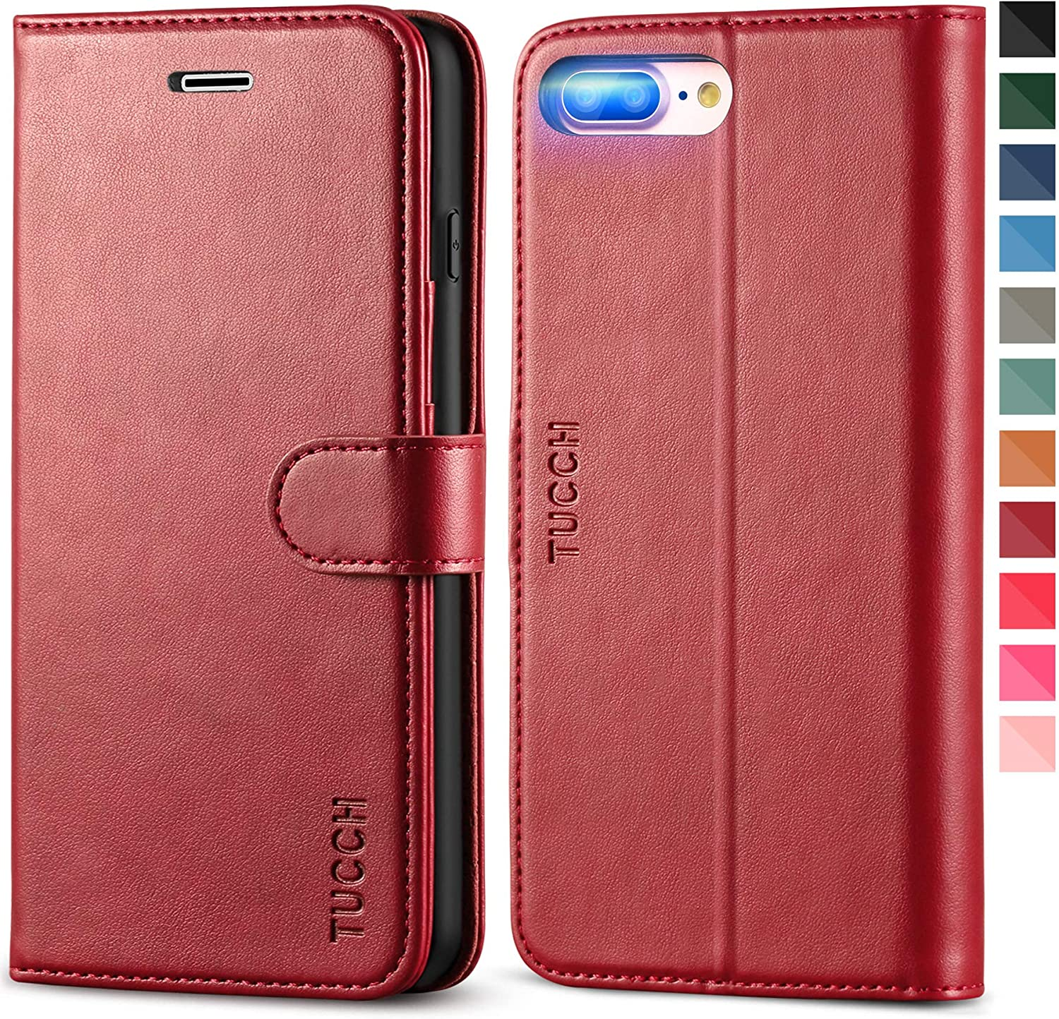 TUCCH iPhone 8 Plus Case, iPhone 7 Plus Wallet Case, Magnetic Closure Card Slots Money Pouch, Stand PU Leather Purse Cover Flip Book [TPU Interior Case] Compatible with iPhone 8 Plus/7 Plus, Dark Red