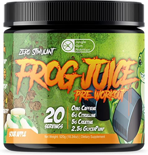 Frog Juice – Original Caffeine Free Non Stimulant Pre Workout Energy Drink Powder, 20 Servings – Green Apple