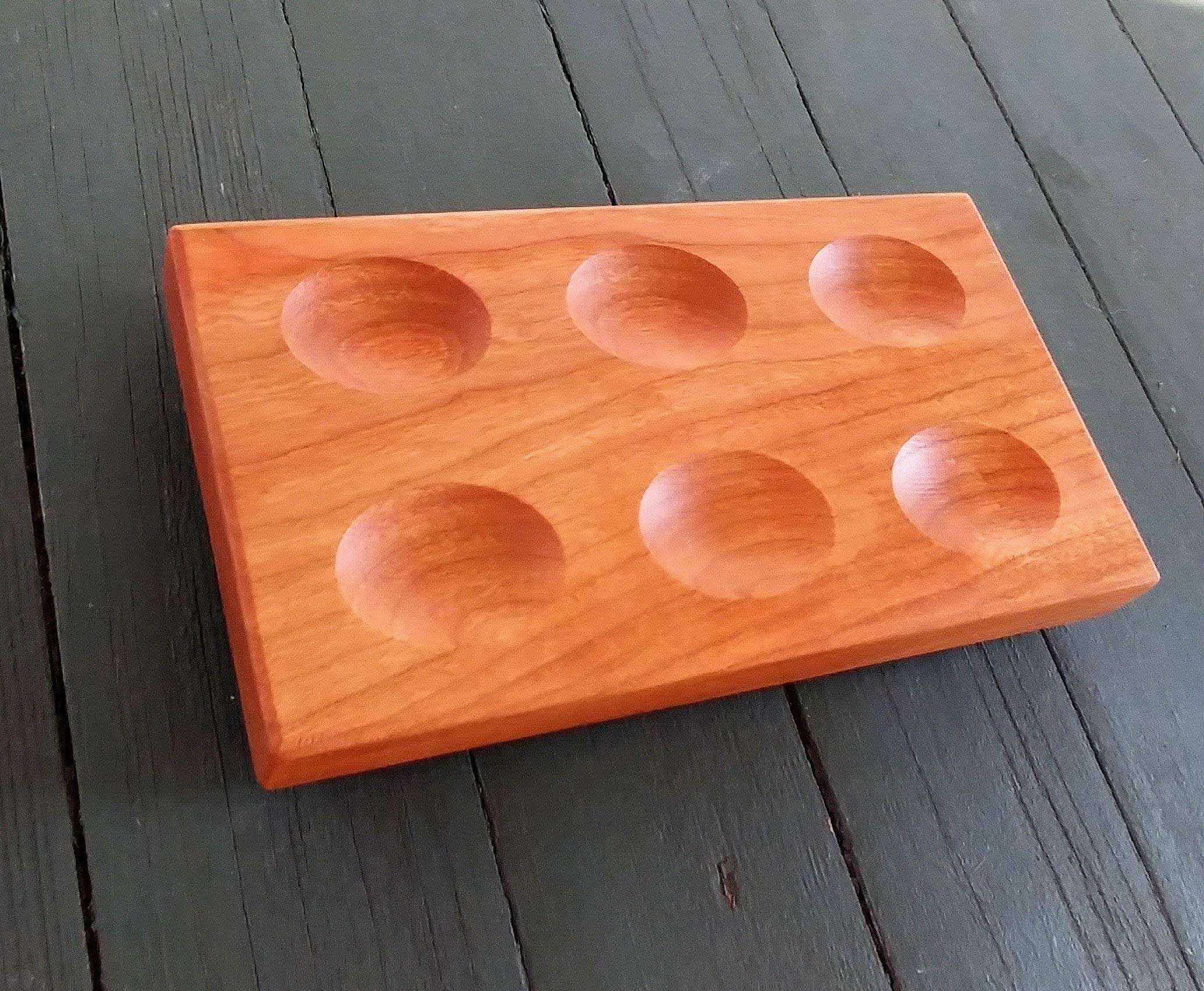 Half Dozen Wood Deviled Egg Tray, Egg Platter, Deviled Egg Holder, Wooden Egg Rack, Deviled Egg Serving Tray, Wooden Egg Tray