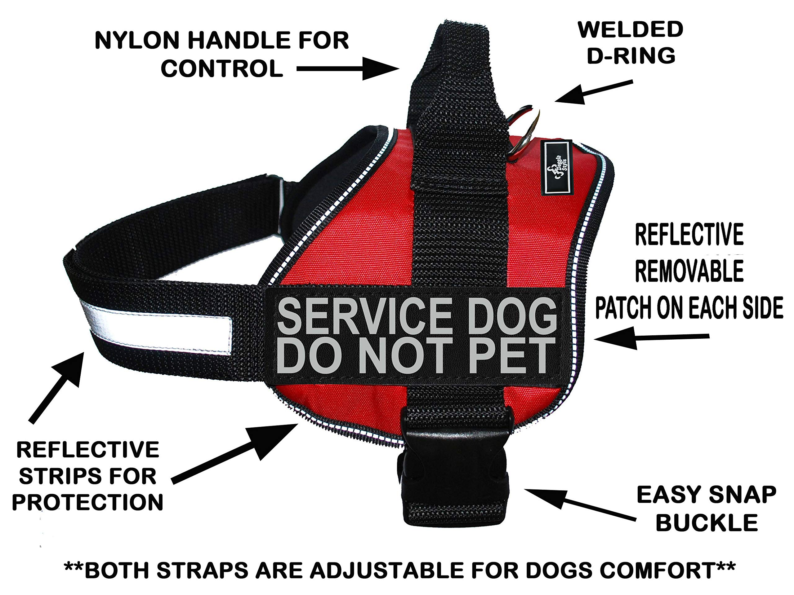 Doggie Stylz Service Dog Harness Vest Comes with 2 Reflective Service Dog DO NOT PET Patches. Please Measure Dog Before Ordering (Girth 19-25'', Red)