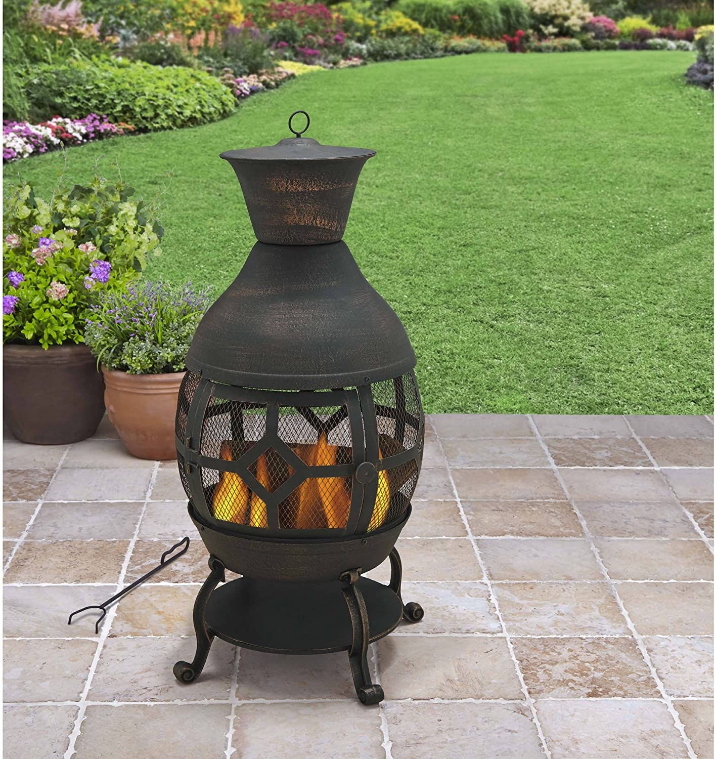 Amazon Com B H G C0 Better Homes And Gardens Antique Bronze Cast Iron Chiminea Durable Cast Iron Construction Garden Outdoor