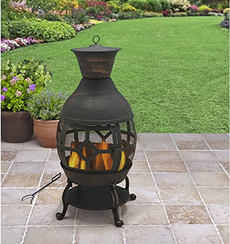 B H G C0. Better Homes and Gardens Antique Bronze Cast Iron Chiminea, Durable cast Iron Construction