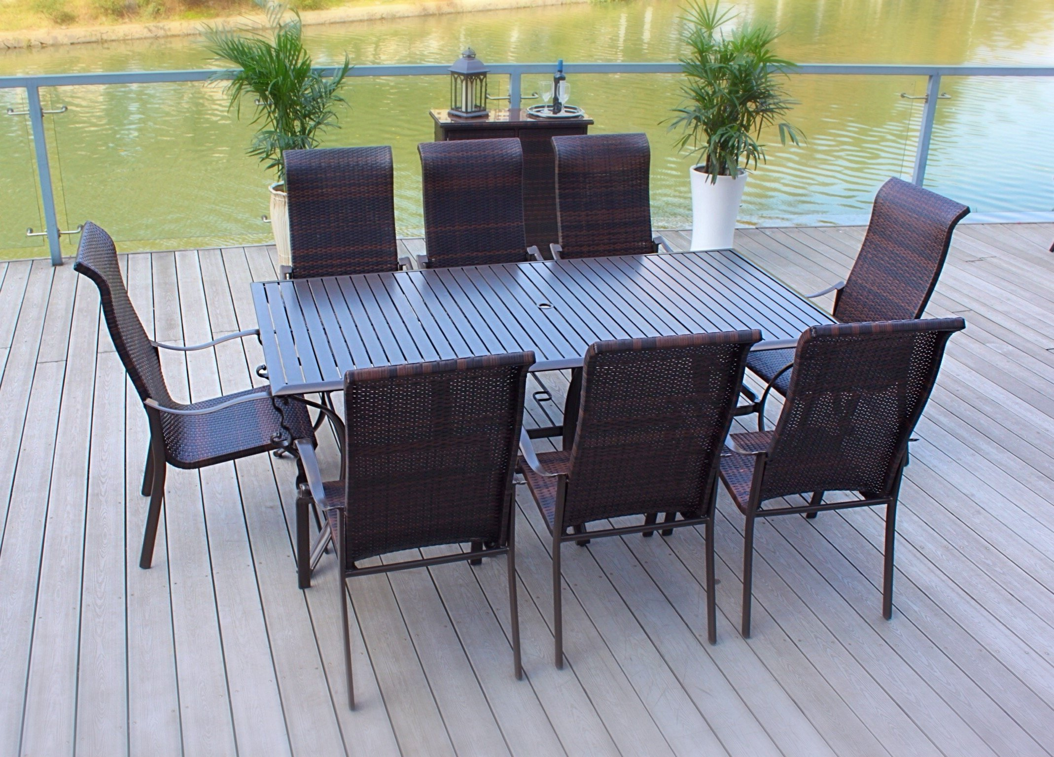 "Pebble Lane Living All Weather Rust Proof Indoor/Outdoor Premium 9 Piece Cast Aluminum Patio Dining Set, 1 Slat Top Dining Table with Umbrella Hole & 8 Wicker Dining Chairs, Brown - 6 Hand Woven All Weather Swilvel Rocking Wicker Patio Dining Chairs: 41"" H x 30"" D x 27"" W 1 Rectangle Patio Dining Table with Umbrella Hole: 82"" L x 42"" W x 28"" H Outdoor Wicker is All Weather UV and Mold Resistant - patio-furniture, dining-sets-patio-funiture, patio - 911moiDxeYL -"