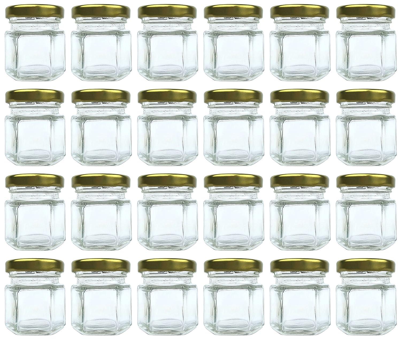 Amazon.com: 1.5 oz Hexagon Jars, 24 Piece Set Mini Glass Favor Jars ...