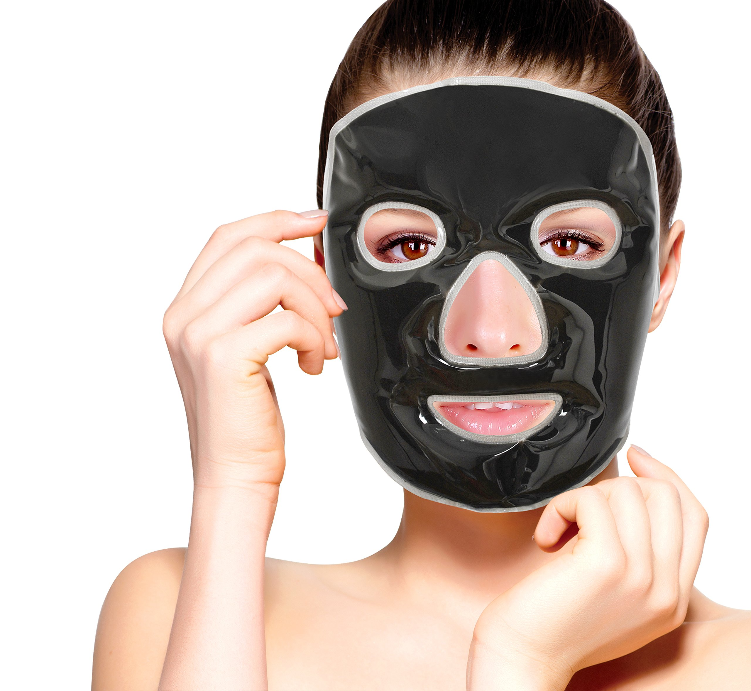 Cold Clay Facial Ice Mask by FOMI Care | Cooling Face Mask for Acne, Swollen Face, Puffy Eyes, Dark Circles, Headache, Migraine, Sinus Relief | Fabric Backing | Natural Clay Filling (X-Large)