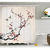 House Decor Shower Curtain by Ambesonne, Cherry Branches Flowers Buds and Birds Asian Style Artwork with Painting Effect, Fabric Bathroom Set with Hooks, 69W X 70L Inches Long, Black and Burgundy
