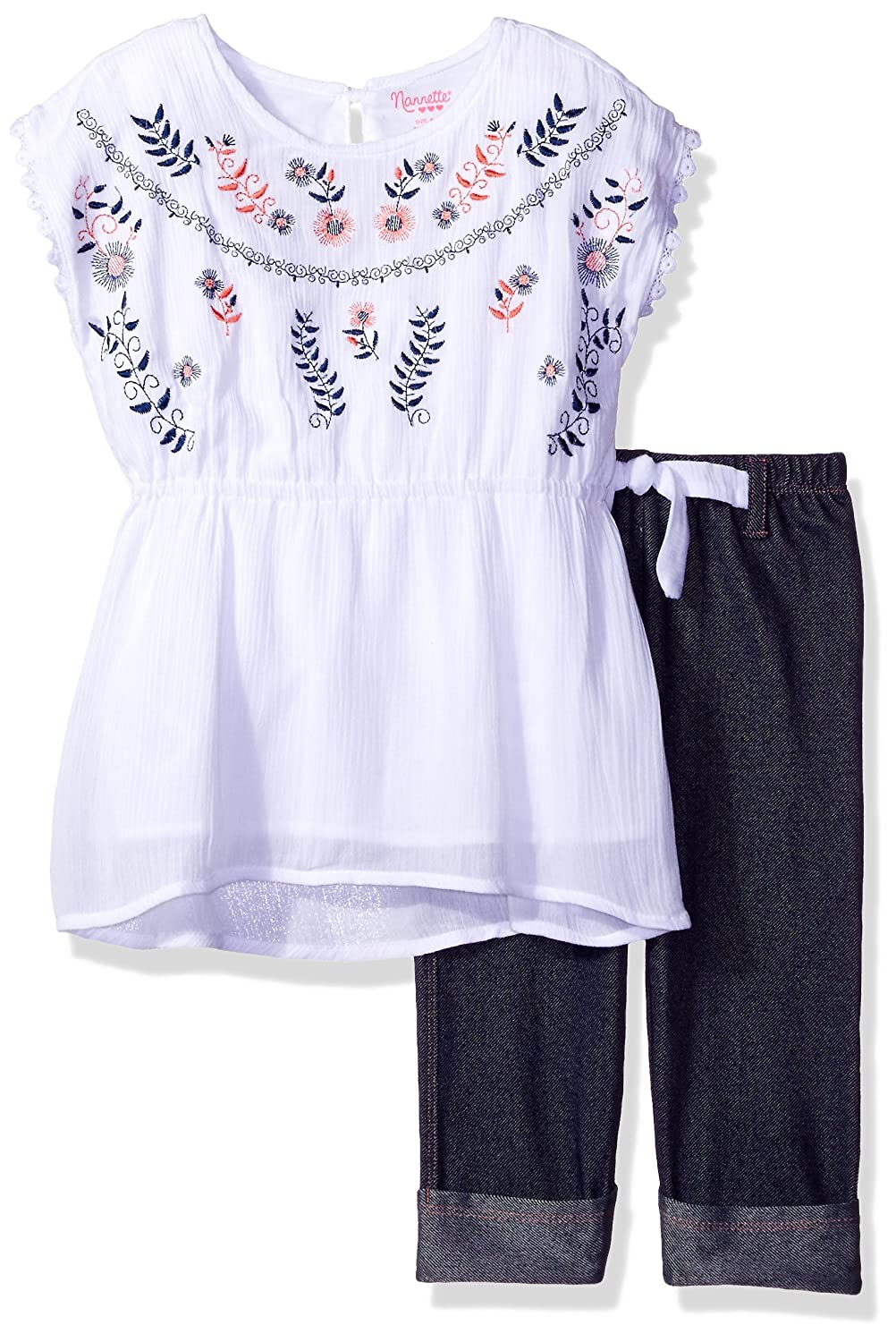 Nannette Girls 2 Piece Crinkle Gauze Top with Embroidery and Knit Denim Jegging