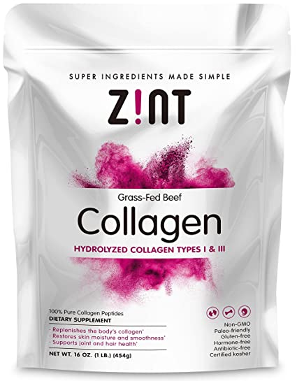 Collagen Hydrolysate Powder-Kosher Beef Collagen Peptides Pasture-Raised by Zint 1lb