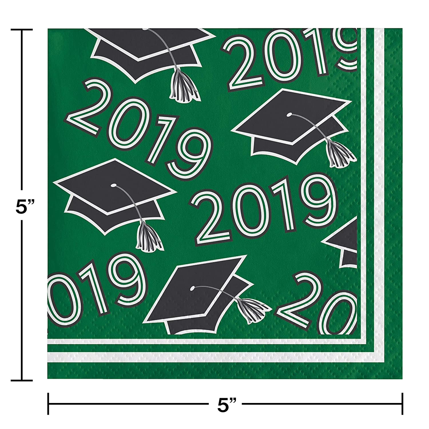 """5/"""", Creative Converting 335408 Green Class Of 2019 Beverage Napkins"""