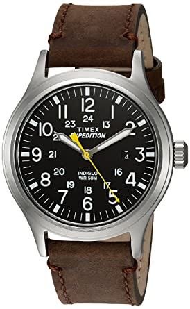 416e178a6 Timex Men's TWC004500 Expedition Scout Black/Brown Leather Strap Watch