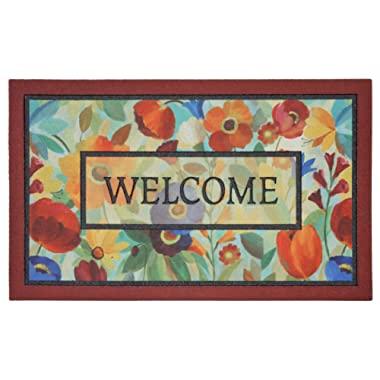Mohawk Home Doorscapes Stain Glass Flowers All All Weather Rubber Durable Non Slip Entry Way Indoor/Outdoor Welcome Door Mat, 18 x 30 Inch,