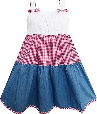Vestido para niña Doble Corbata de moño Plaid Vaquero Estilo Sol 6 ...