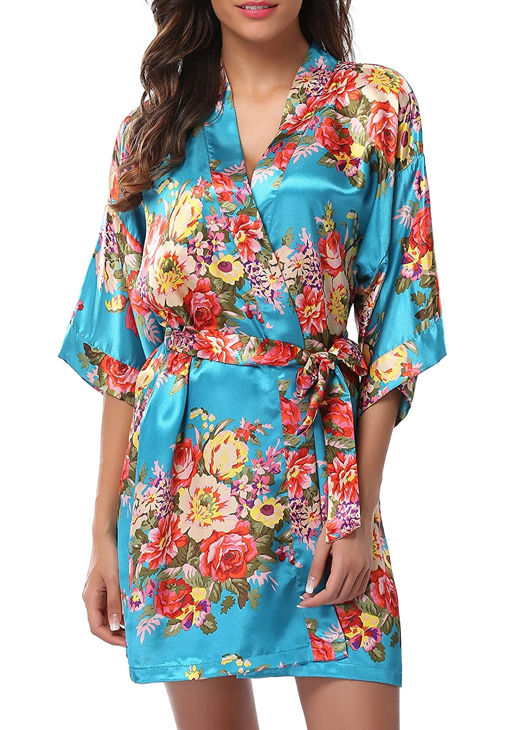 bluee 1stmall Floral Satin Kimono Short Style Bridesmaids Robes for Women
