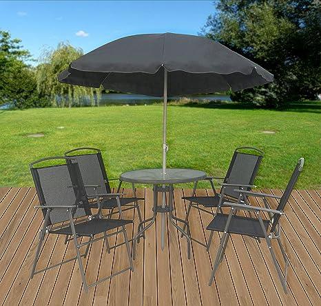 Vcm 6 Teiliges Gartenmöbel Set Tisch Stühle Schirm