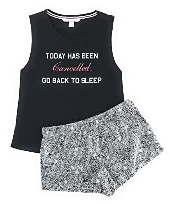 99c934c7f2 Victoria s Secret Mayfair Graphic Tank and Short Set X-Small Black  Cancelled White Leopard