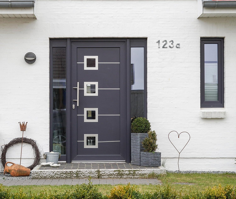 3D Design Edelstahl Individuelle Kombinationsm/öglichkeiten // Beschriftung // Kennzeichnung // Ziffer // Haust/ür // Hauswand // Gartentor // 424027 Metafranc Hausnummer 3 Gute Lesbarkeit 120 mm