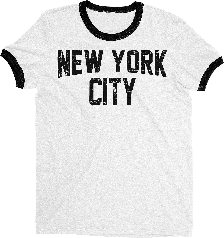 New York City John Lennon Ringer Tee T-Shirt Retro Style Men's Shirt