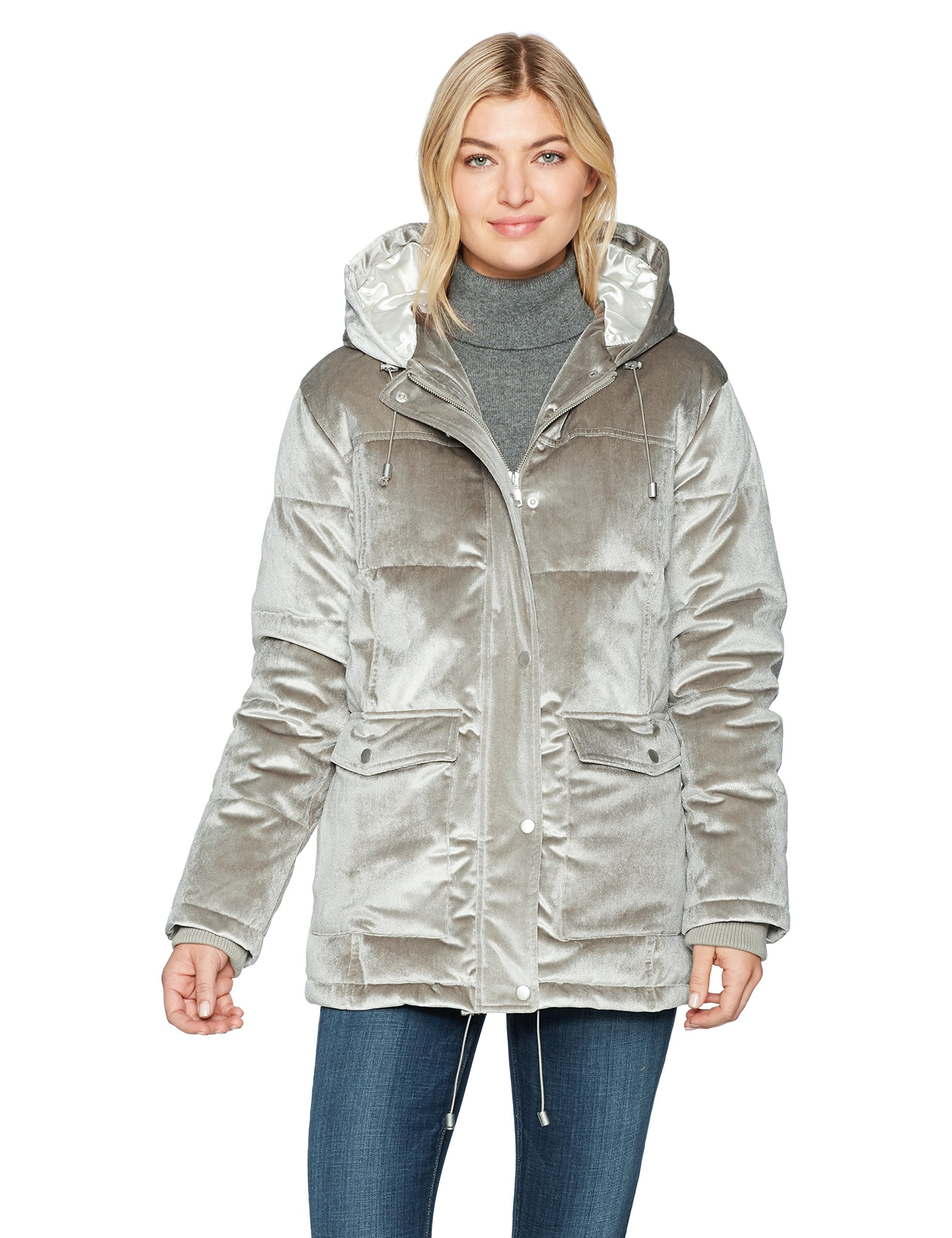 Avec Les Filles Women's Velvet Oversized Down Puffer Coat, Glass, M