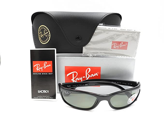 045bd79cae5 Amazon.com  Ray-Ban RB4115 - 601 9A Sunglasses Black w  Polarized  Grey-Green Lens 57mm  Clothing