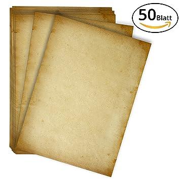 50 Blatt Altes Papier Set Hochwertiges 100g M A4 Vintage