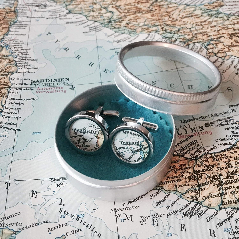 Manschettenknöpfe mit Landkarten I Städte nach Wunsch I Geschenk für Ihn I Geschenk zur Hochzeit I Ostergeschenk