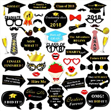 Konsait Graduation Photo Booth Props 50pcs Graduierung