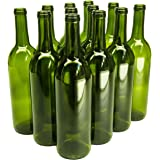 North Mountain Supply - W5CG 750ml Glass Bordeaux Wine Bottle Flat-Bottomed Cork Finish - Case of 12 - Champagne Green