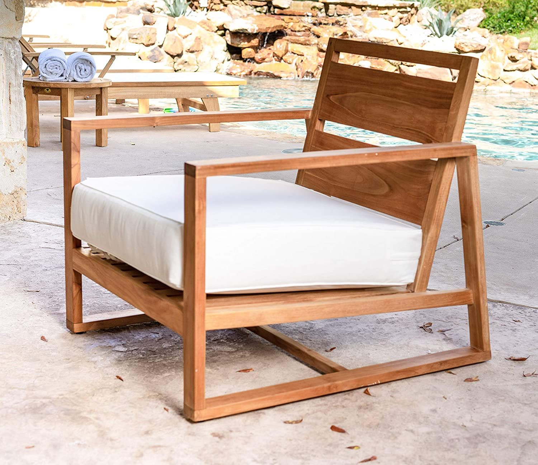 Alveare Home Santorini Cove Outdoor Teak Chair with Cushion, Natural