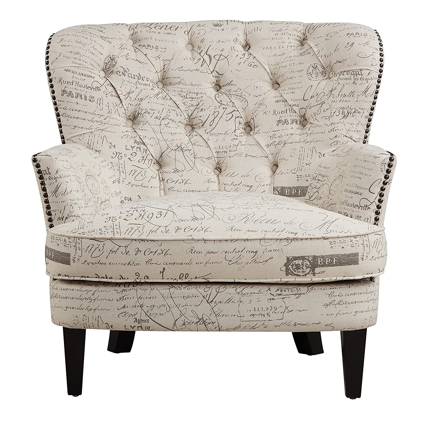 Amazon.com: Pulaski Button Tufted Upholstered Accent Chair In Paris Script  With Antique Nailhead, Medium, White: Kitchen U0026 Dining