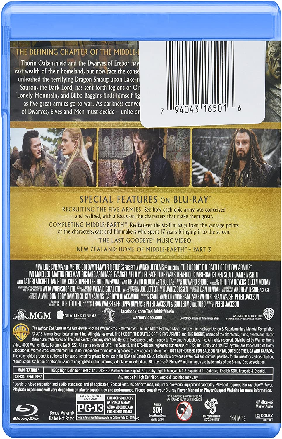 Amazon com: The Hobbit: The Battle of the Five Armies (Blu-ray +