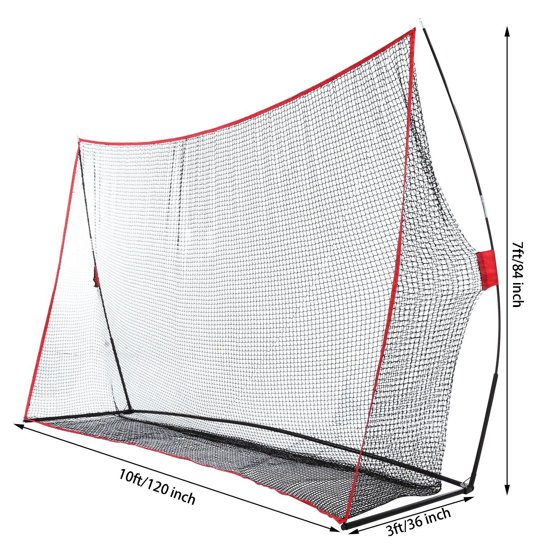 Jaketen 10 x 7 x 3 ft Hitting Net for Golf Practice Training, Outdoor Yard Garden Range