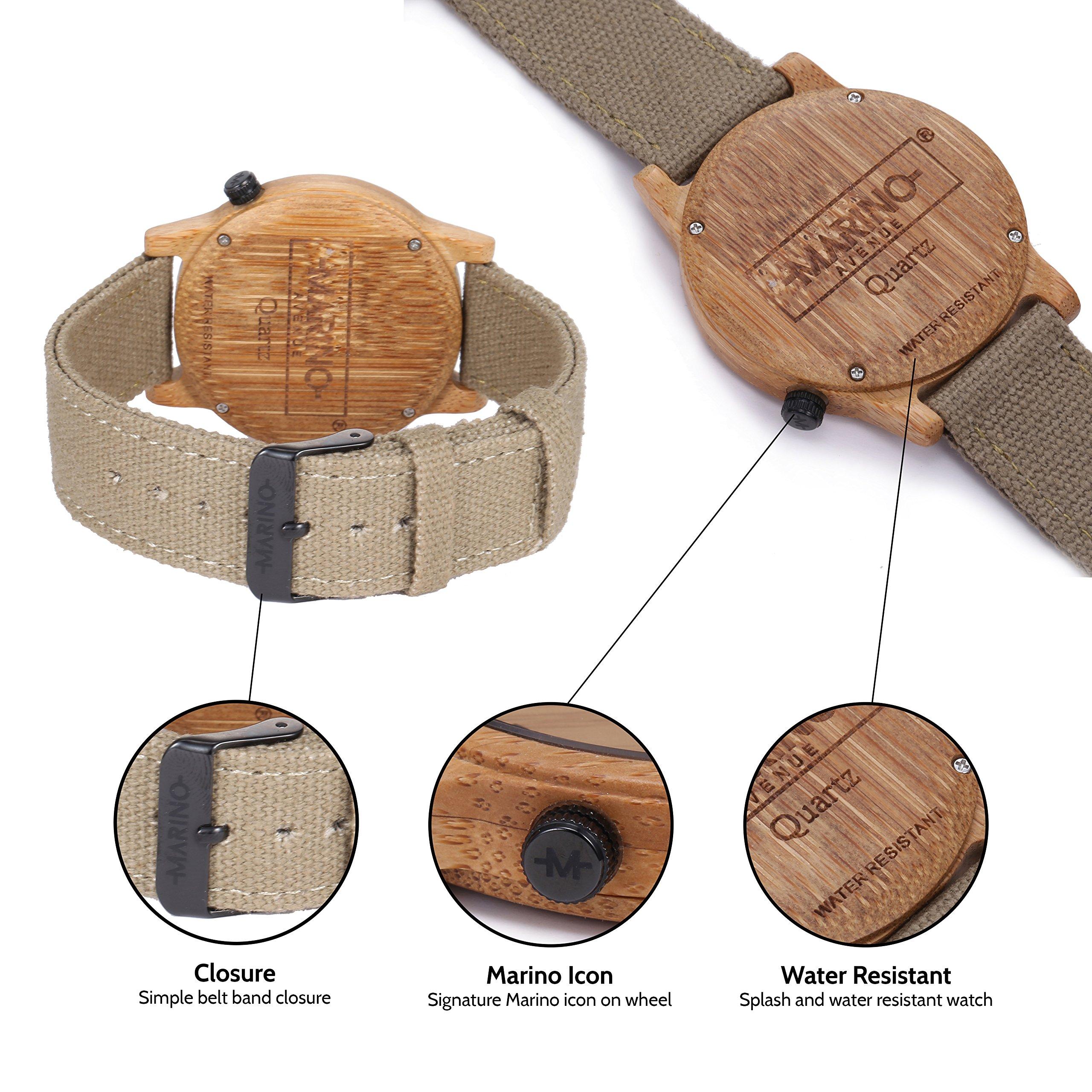 Marino Mens Wooden Watch - Wrist watches for Men - Dress Wood Watch (One Size, Khaki - Canvas Band) by Marino Avenue (Image #4)