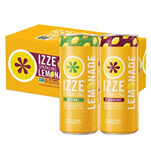 IZZE Sparkling Lemonade, Blackberry & Original Variety Pack, 8.4oz Cans (24 Pack)
