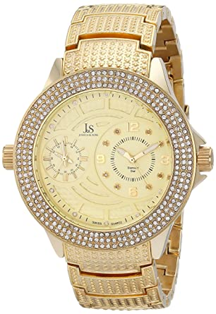 980cae99a Amazon.com: Joshua & Sons Men's JS80YG Gold-Tone Watch with Crystals and  Diamonds: Watches