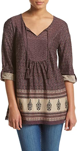 قميص صوفي حريمي طويل الأكمام بنمط الغرب الأمريكي بلوز