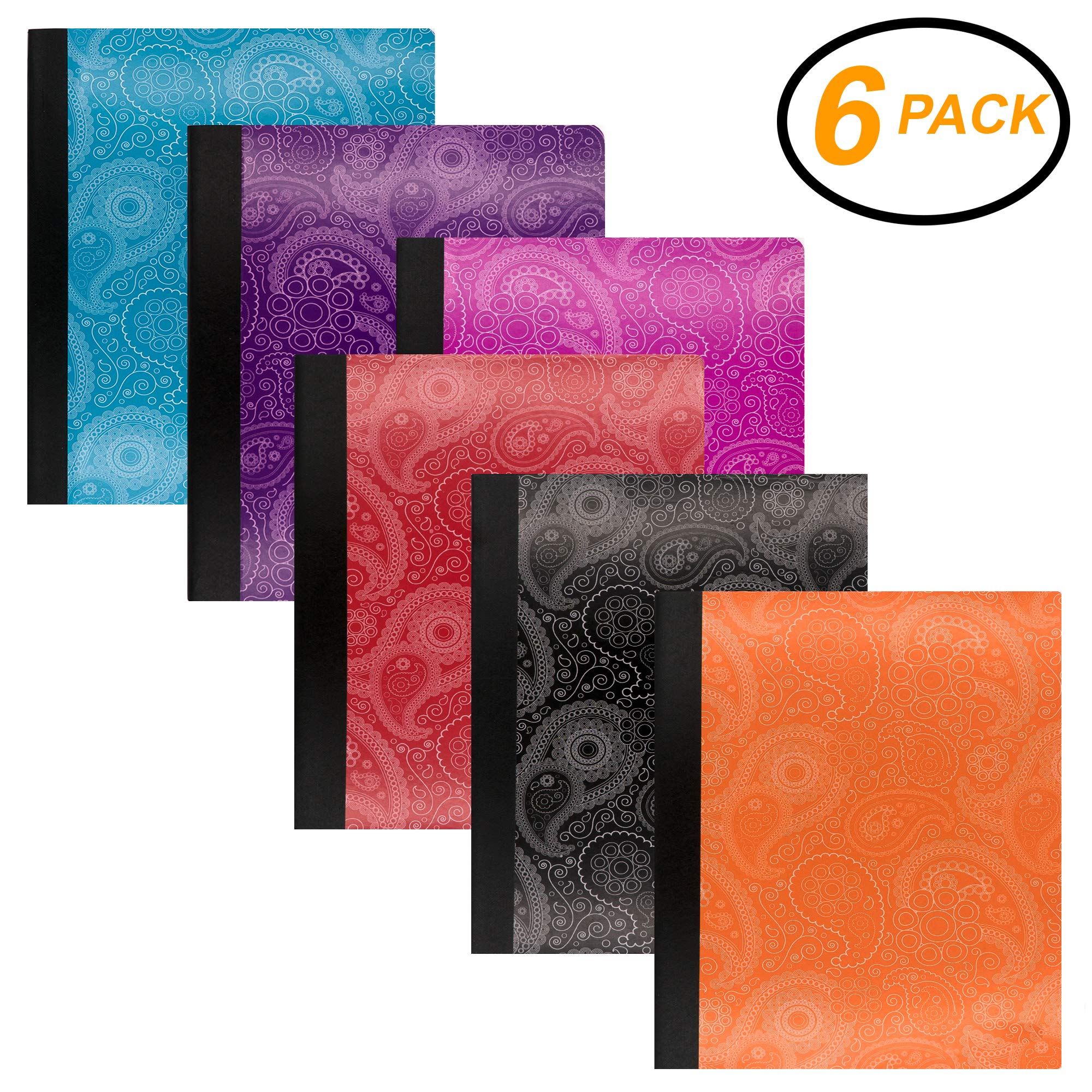 Emraw Paisley Composition Book College Ruled Paper Office Dairy Note Books 100 Sheet Journals Meeting Notebook Hard Covers Pack Of 6 Writing Book For school