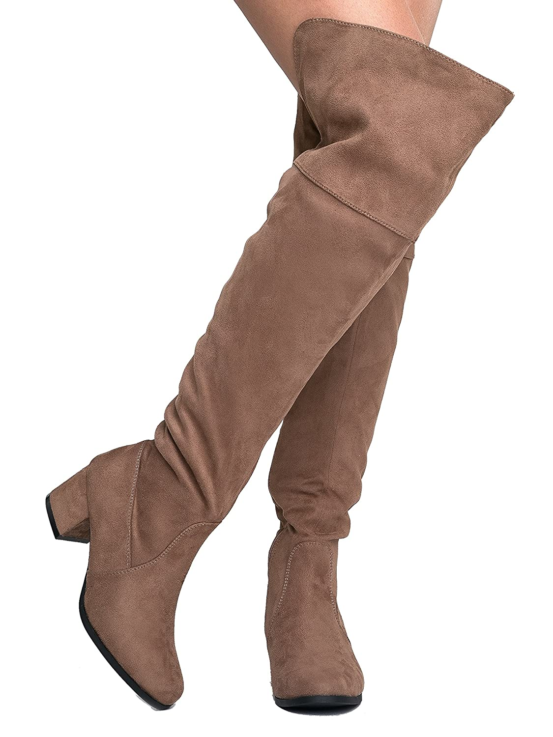 1c52c6baa Amazon.com | J. Adams Brandy Over The Knee Boot - Trendy Low Block Heel  Suede Thigh High | Over-the-Knee
